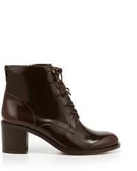 Темно-красные кожаные ботильоны на шнуровке