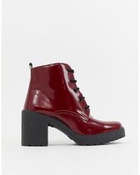 Темно-красные кожаные ботильоны на шнуровке от ASOS DESIGN