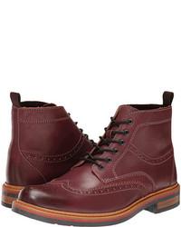 Темно-красные кожаные ботинки броги