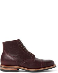 Мужские темно-красные кожаные ботинки броги
