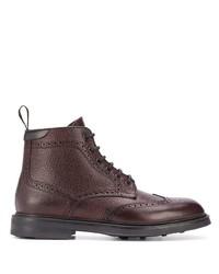 Темно-красные кожаные ботинки броги от Canali