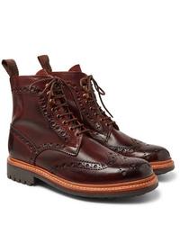 Темно-красные кожаные ботинки броги от Grenson