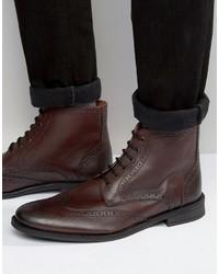Мужские темно-красные кожаные ботинки броги от Lambretta