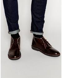 Темно-красные кожаные ботинки дезерты от Asos