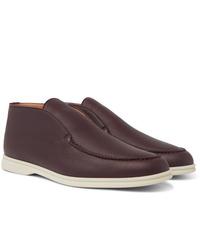 Темно-красные кожаные ботинки дезерты от Loro Piana