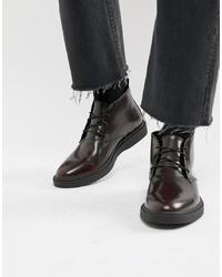 Темно-красные кожаные ботинки дезерты от Zign