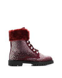 Женские темно-красные кожаные ботинки на шнуровке с украшением от Philipp Plein