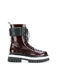 Темно-красные кожаные ботинки на шнуровке