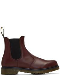 Темно-красные кожаные ботинки челси