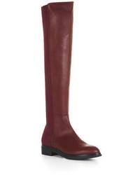 Женские темно-красные кожаные ботфорты от BCBGMAXAZRIA