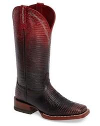 Темно-красные кожаные ковбойские сапоги