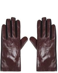 Темно-красные кожаные перчатки