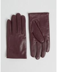 Женские темно-красные кожаные перчатки от Asos