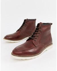 Мужские темно-красные кожаные повседневные ботинки от ASOS DESIGN