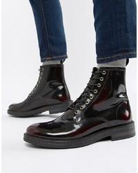 Мужские темно-красные кожаные повседневные ботинки от WALK LONDON