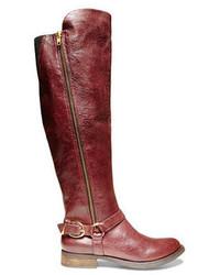 Темно-красные кожаные сапоги