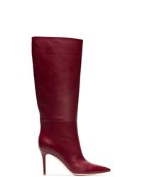 Темно-красные кожаные сапоги от Gianvito Rossi