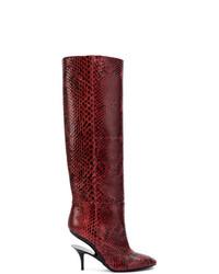 Темно-красные кожаные сапоги от Maison Margiela
