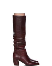 Темно-красные кожаные сапоги от Prada