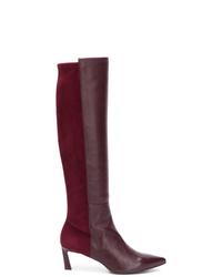 Темно-красные кожаные сапоги от Stuart Weitzman