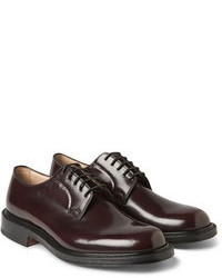 Темно-красные кожаные туфли дерби