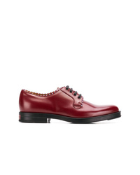 Темно-красные кожаные туфли дерби от Gucci