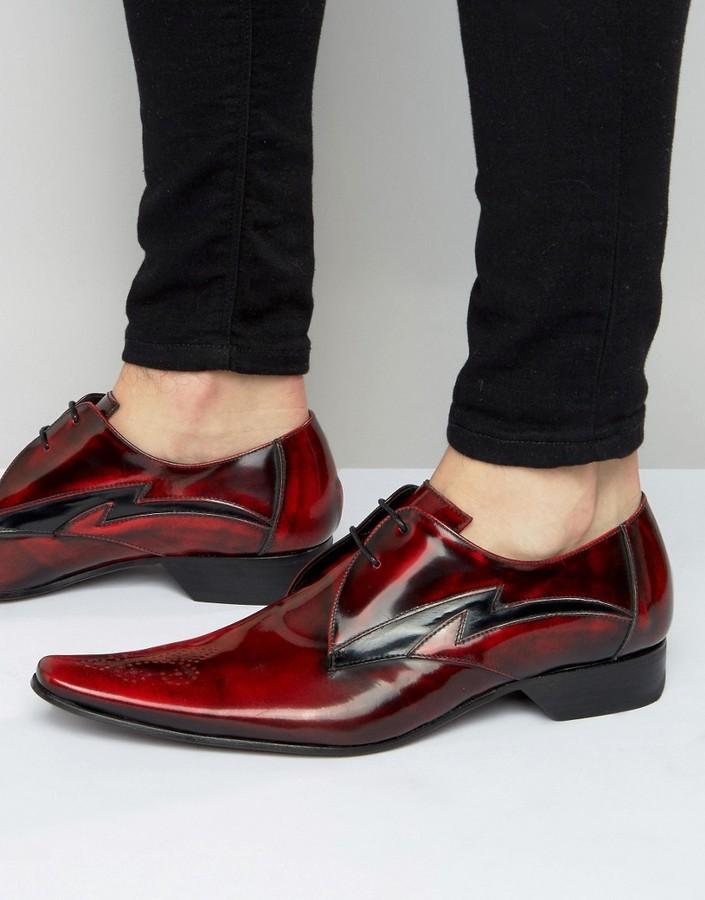Темно-красные кожаные туфли дерби от Jeffery West