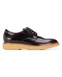 Темно-красные кожаные туфли дерби от Tod's