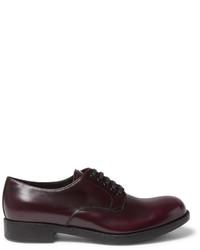 Темно-красные кожаные туфли дерби от Prada