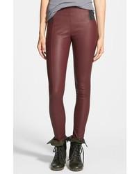 Темно-красные кожаные узкие брюки