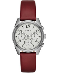 Темно-красные кожаные часы