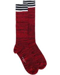 Женские темно-красные носки в горизонтальную полоску от Marni