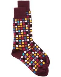 Мужские темно-красные носки в горошек от Paul Smith