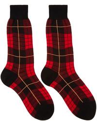 Мужские темно-красные носки в шотландскую клетку от Alexander McQueen