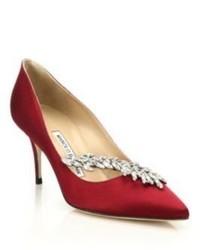 Темно-красные сатиновые туфли