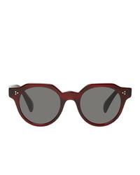 Мужские темно-красные солнцезащитные очки от Oliver Peoples