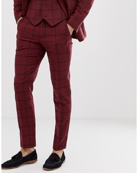 Темно-красные шерстяные классические брюки в клетку