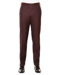 Темно-красные шерстяные классические брюки