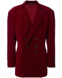 Мужской темно-красный бархатный двубортный пиджак от Yohji Yamamoto Pre-Owned