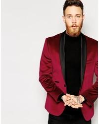 Мужской темно-красный бархатный пиджак