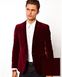 Мужской темно-красный бархатный пиджак от Asos
