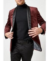 Мужской темно-красный бархатный пиджак от Burton Menswear London