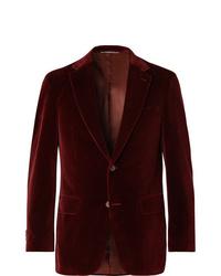 Мужской темно-красный бархатный пиджак от Canali