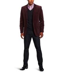 Темно-красный вельветовый пиджак