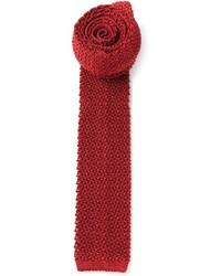 Темно-красный вязаный галстук