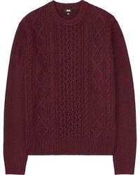 Темно-красный вязаный свитер