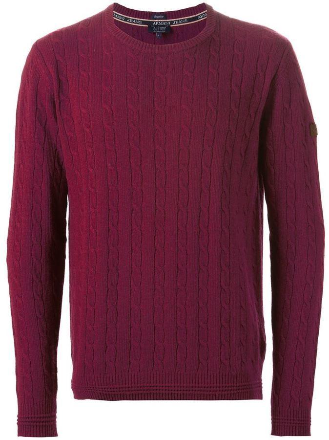 Мужской темно-красный вязаный свитер от Armani Jeans   Где купить и ... 66de416a30c