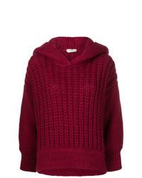 Темно-красный вязаный свободный свитер от Fendi