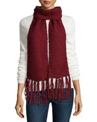 Темно-красный вязаный шарф
