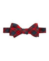 Темно-красный галстук-бабочка в шотландскую клетку